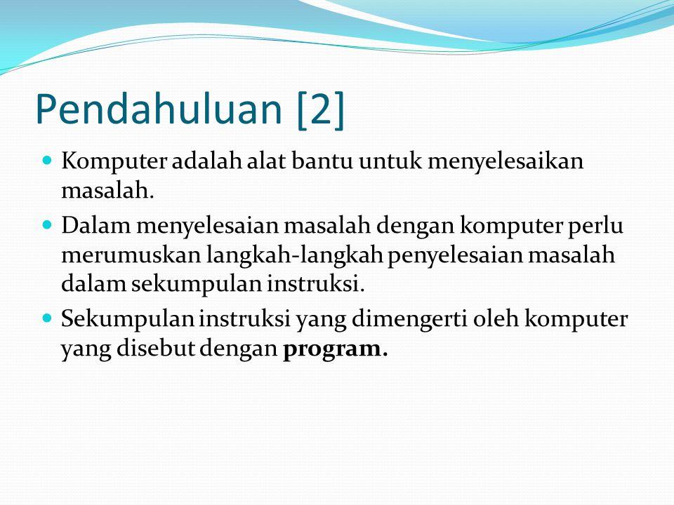 Pendahuluan [2] Komputer adalah alat bantu untuk menyelesaikan masalah.